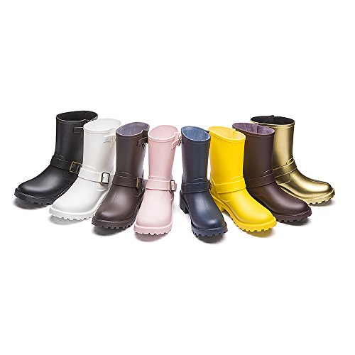 DKSUKO Womens Rain Boots with Elastic Adjust Waterproof -6 Colors-Motorcycle Boots for Girls JXC01 (7 B(M) US, Yellow) by DKSUKO (Image #7)