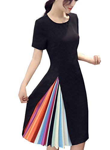 Women's Rainbow Colorful Block Pleated A Line Mini Black Dress (US 12-14, Black-Short Sleeve)