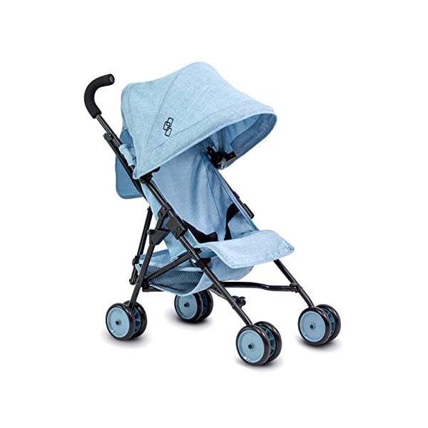 418CNhfHNJL. SS600  - TRIOKID My First Baby Doll Stroller Miniline Blueberry Blue Travel Toys for Kids Portable Doll Pram Drawable Fabric with…