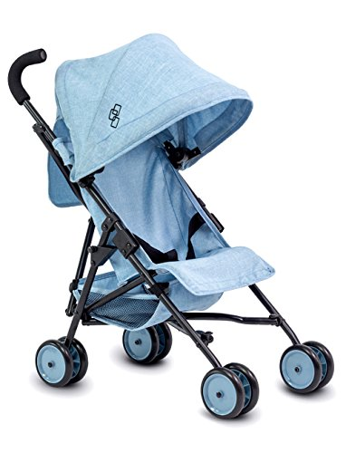 TRIOKID My First Baby Doll Stroller Miniline Blueberry Blue Travel Toys for Kids Portable Doll Pram Drawable Fabric with Removable Weather Resistant Canopy by TRIOKID