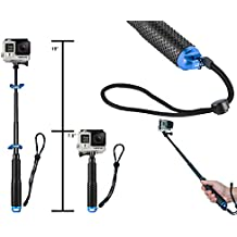 Extendable Selfie Self Stick Pole for GoPro Hero Hero2 Hero3 Hero4 Hero5 Aluminum Dive Telescopic Floating Waterproof Monopod Handle Extension (19cm to 49cm) By ADIKA