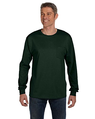 (Hanes TAGLESS 6.1 Long Sleeve with Pocket (Pack of 1),Deep)