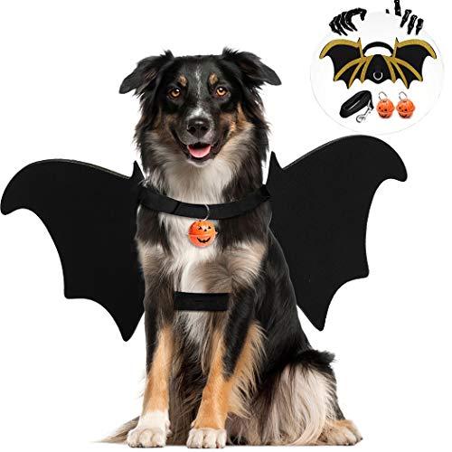 Legendog Halloween Costumes for Dogs, Dog Halloween Bat Costume for Dogs, Cool Pet Halloween Costumes for Dogs, Bat Wings for Dogs with Dog Leash and Pumpkin Bells