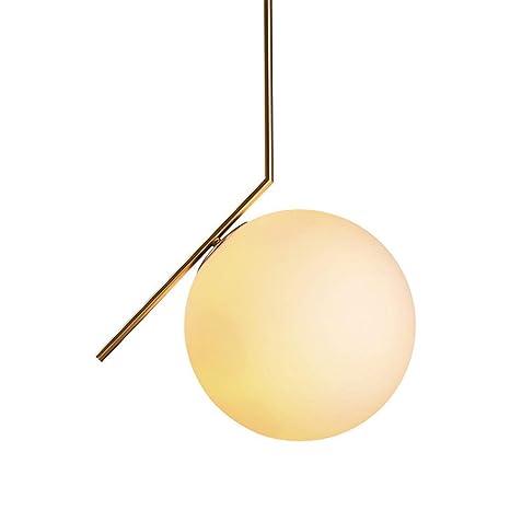 Lampara Techo, Lamparas de Techo Salon, Sombra esférica de Vidrio, 20cm de Diámetro, Blanco lechoso, Diseño Moderno y Elegante, para Sala de Estar ...