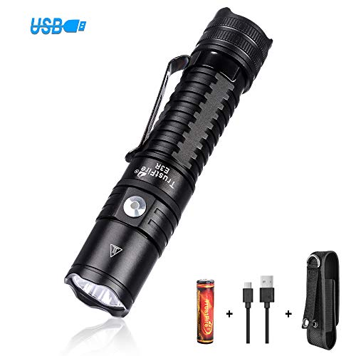 (TrustFire E3R USB Rechargeable Flashlight 1000 Lumens Tactical EDC Pocket Handy Flash Light With Holster For Camping Hiking Walking Day-to-day Use Gift 【With 18650 3000mAh Battery】)