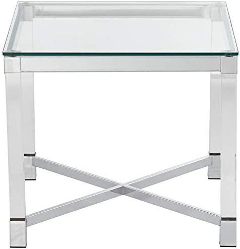 Jenna Chrome and Acrylic 22″ Square Modern Accent Table