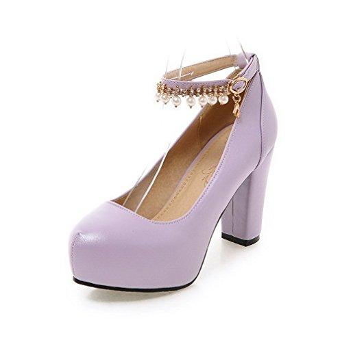 AgooLar Damen Weiches Material Rund Zehe Hoher Absatz Schnalle Rein Pumps Schuhe Lila