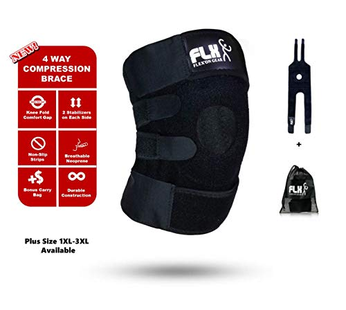 FLX Knee Brace Support Compression Wrap Sleeve Patella Stabilizer 4 Strap Flexible Open Back Non-Slip for Arthritis Tendonitis Pain, Meniscus Tear ACL LCL MCL Sprain Injury Plus Size XXL Available