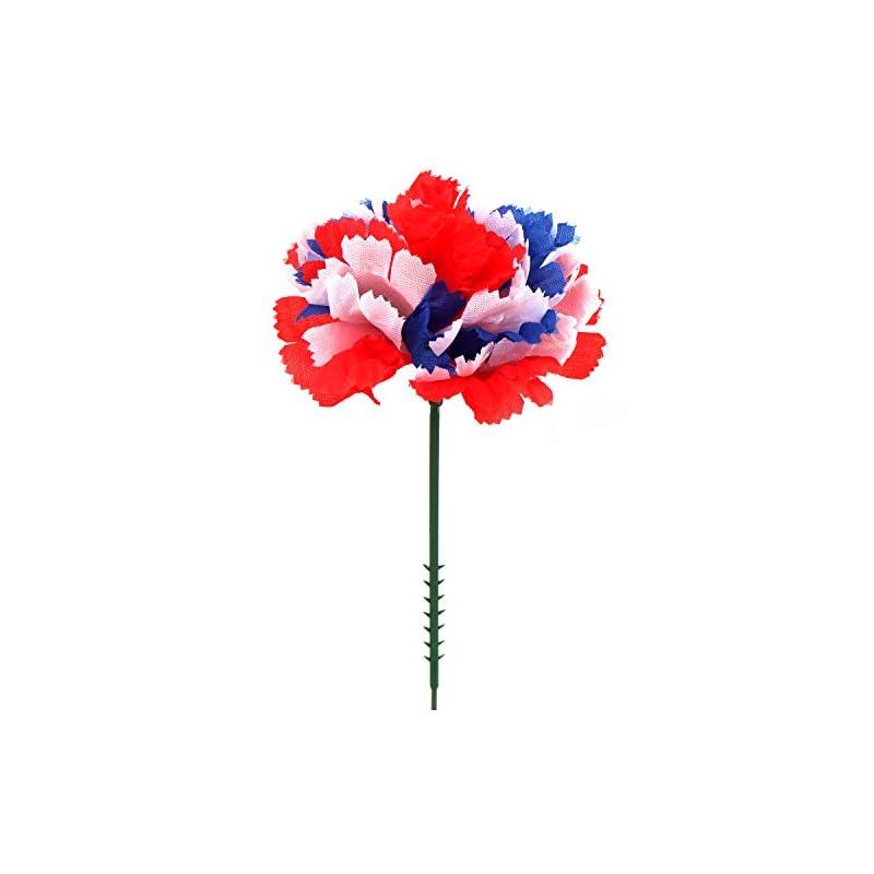 "silk flower arrangements larksilk tri-color silk carnation picks, artificial flowers for weddings, decorations, diy decor, 100 count bulk, 3.5"" carnation heads with 5"" stems"