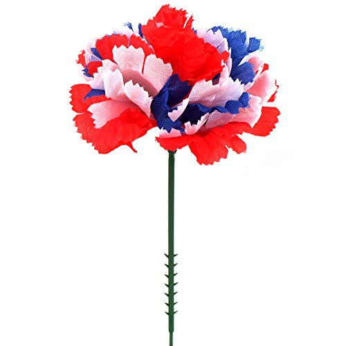 Red White And Blue Centerpiece Ideas (Larksilk Tri-Color Silk Carnation Picks, Artificial Flowers for Weddings, Decorations, DIY Decor, 100 Count Bulk, 3.5