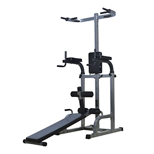 GHP Sewn Vinyl Cushion Gray & Black 69''L×35''W×80''H Sit-up Bench Power Tower by Globe House Products