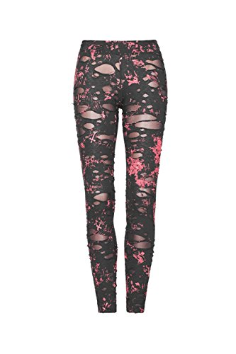 PUNKRAVE Women Sexy Ripped Leggings Stretchy Gothic Pants Broken Mesh Trousers RedL