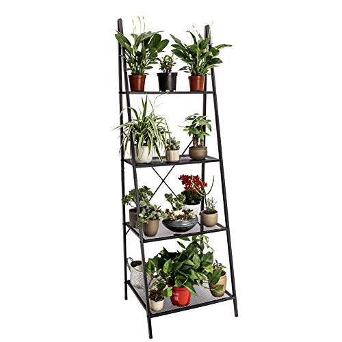 C-Hopetree Ladder Shelf Bookshelf Boocase Indoor Outdoor Plant Stand Storage Rack Display Shelving, 4-Tier Industrial Accent Home Office Furniture, Black Metal Frame