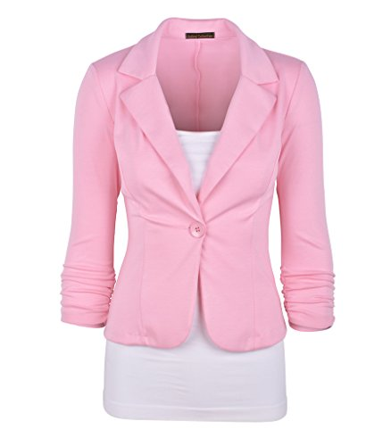Auliné Collection Women's Casual Work Solid Color Knit Blazer Dusty Pink 1X (Pink Ladies Jacket Plus Size)