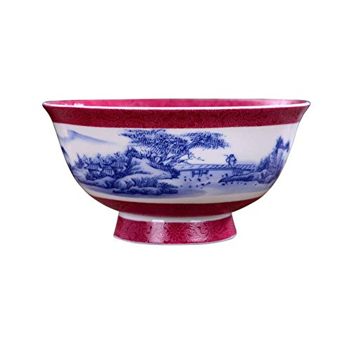 ZH Dish racks Porcelain bowl,Ramen bowl,Cereal bowl,Thin Bright Retro Antique tableware Chinese style Blue and white landscape 2 packs 6 inches