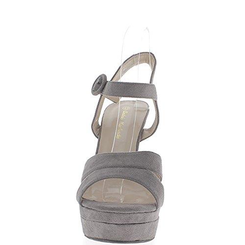 Dimensioni grigio sandali a tacco piattaforma di 15,5 cm 4,5 cm effetto camoscio