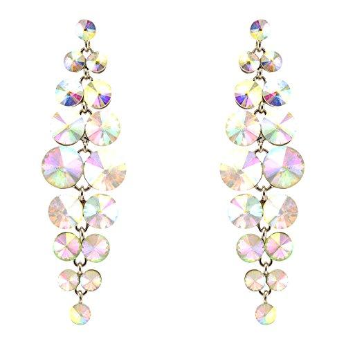 285-CLEAR AB Fashion Party & Wedding Jewelry Tear Drop Dangle Chandelier Alloy Rhinestone Earrings (Earrings Wedding Rhinestone Chandelier)