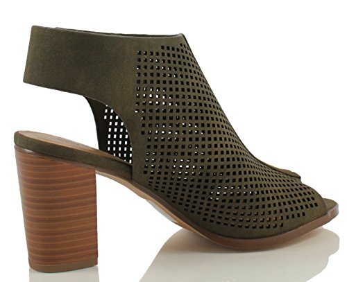 City ​​class Womens Carreggiata In Ecopelle Peep Toe Laser Cut-out Tacchi Impilati Verde