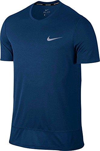 Nike Mens Breathe Rapid Challenger Running T-Shirt(Binary Blu/Binary Blu/Blk, - Running Shirts Men