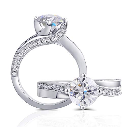 Center 1.5 Carat Color (G-H-I) Moissanite Stone Engagement Ring Solitare with Accents Platinum Plated Silver for Women (5.5)
