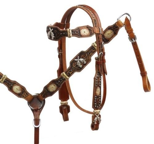 Showman Leather Horse Bridle Reins Breast Collar Rawhide RS Crossed Guns Pistols by Showman