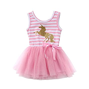 ZXCVBN Princess Toddler Kids Girls Vestido de verano sin mangas Unicornio rayas Tutu Bow Vestidos formales
