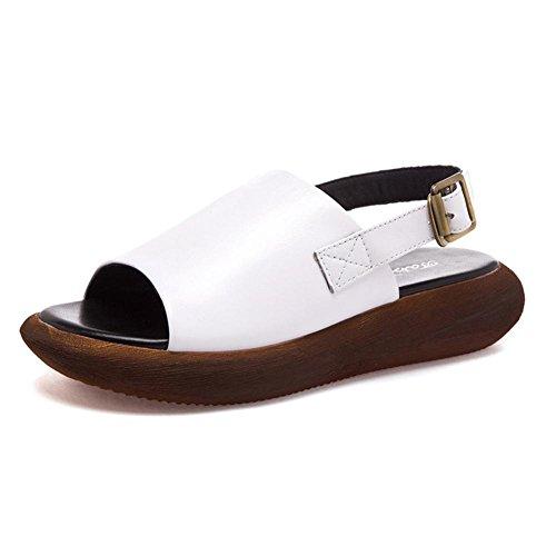 sandalias de cuero femeninos zapatos de piso de estudiantes, cabeza de pescado salvaje zapatos de plataforma de fondo grueso talones sub chicas White