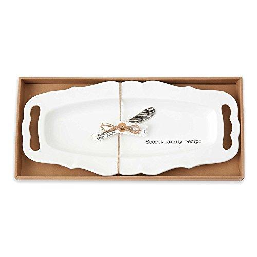 - Mud Pie 2-Piece Hostess Ceramic Platter & Spreader Set In White Features