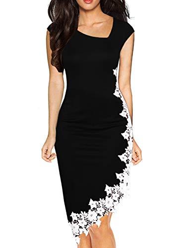 Drimmaks Women's Summer Sleeveless Irregular Neck Hi-Low White Lace Hem Pencil Cocktail Party Dress (023-Black Sleeveless, S)