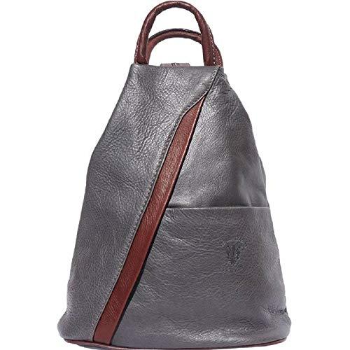 LaGaksta Submedium Backpack Convertible Teardrop Italian Leather Bag Purse Small Grey-Brown