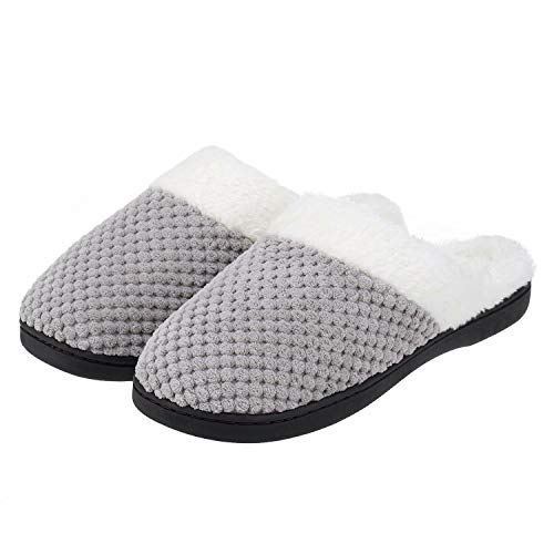 Cozy Knitted Slippers Memory Foam Fuzzy Slippers Anti-skid Rubber House Shoes