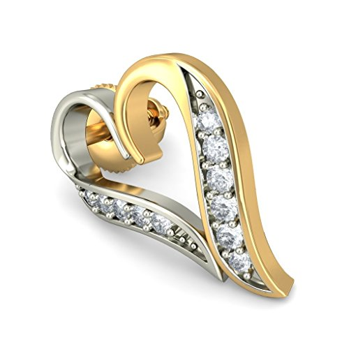 14 K Or jaune 0,14 CT TW White-diamond (IJ | SI) Boucles d'oreille à tige