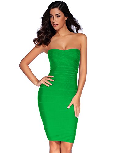 Meilun Women's Rayon Strapless Stretch Cocktail Bandage Dress Small Lake
