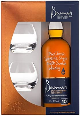 Benromach 10 Years Old Speyside Single Malt Scotch Whisky with 2 Glasses - 700 ml