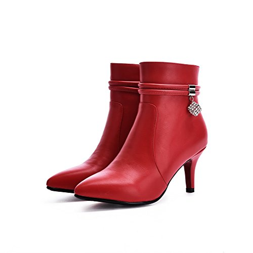 Toe Pointed Material AmoonyFashion Heels Women's High Red Closed top Low Zipper Boots Soft qfIfY