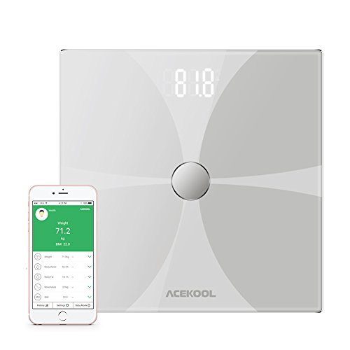 Acekool Bluetooth Body Fat Scale, Wireless Digital Bathroom Scale with Tempered Glass Surface, Body Composition Monitor with Large LED Display, Smart Scale with iOS & Android App by Acekool