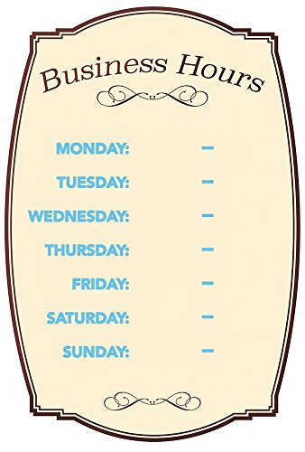 Business Hours Boutique Sign, Static Cling Numbers Included, 8 x 12 inches (098392)