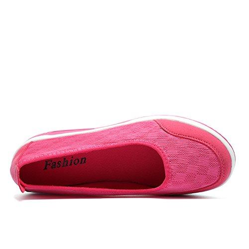 Zapatillas Deportivas Enllerviid Mujer Slip On Platform Fitness Toning Sneakers Shape Up Walking 2963 Rose