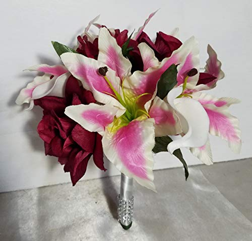 Burgundy Rose Stargazer Tiger Lily Bridal Wedding Bouquet & Boutonniere