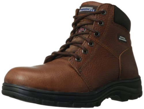 Skechers for Work Men's Workshire Relaxed Fit Work Steel Toe Boot,Brown,10 M US Mens Brown Steel Toe Boot