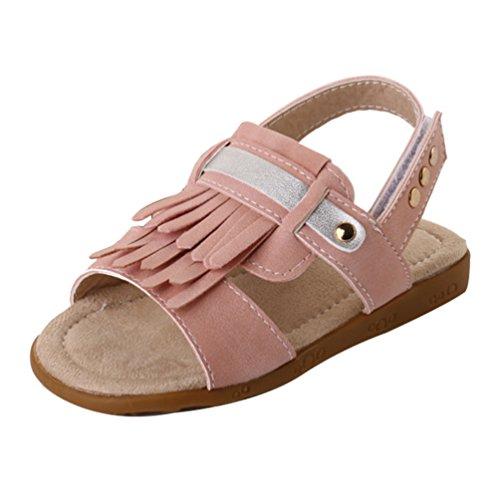 CHENGYANG Kinder Mädchen Summer Weiche Sohle Schuhe Rutschfest Quaste Prinzessin Sandalen Pink