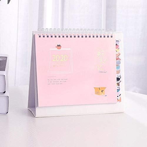 Tischkalender Kalendarien 2019 2020 nette Karikatur-Kalender Tisch Coil Kalender DIY Multifunktionsplaner Täglich Scheduler Schulmaterial kawaii (Color : Pink)