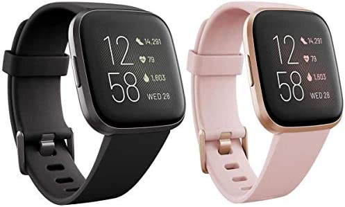 Fitbit Versa 2 Health and Fitness Smartwatch with Heart Rate Pair - Black/Carbon & Copper Rose