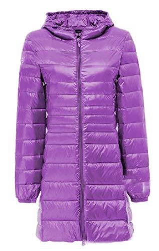 Hooded Packable Zipper Full Women's EKU Anoraks Ultra Purple Jacket Lightweight Down naPH6xB