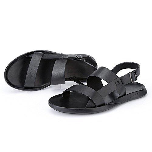 Transpirable 2018 Informal De Suave Tamaño Open Los Genuino Beach Negro Negocios Toe Sandalias Nuevo Eu Cuero Bottom Negro Hombres color Antideslizante Sandalias 41 Shoes rCwqFOr
