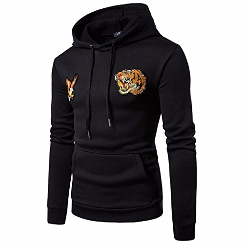 Eagle Jacket Fleece Long Hooded Black Tiger Down Sleeved Sleeve Men's Long Luoluoluo Hoodie Sweater Shirt zXwB8q