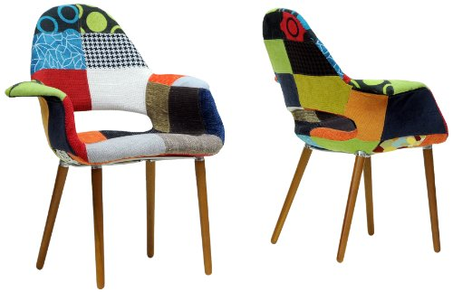 Price comparison product image Baxton Studio Forza Patchwork Mid-Century Style Accent Chair,  Set of 2