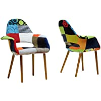 Baxton Studio Forza Patchwork Mid-Century Style Accent Chair, Set of 2