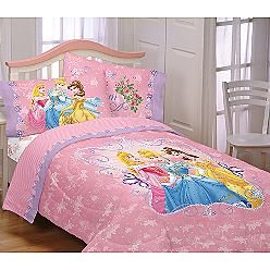 Disney princess loving hearts twin size comforter home kitchen - Twin size princess bed set ...