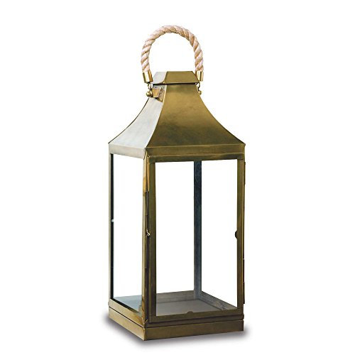 Pilgrim Home and Hearth 17539 Plymouth Tall Candle Lantern, Antique Brass / Stainless Steel, 10 x 26